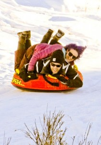 Double Decking Sledding at the Guest Ranch