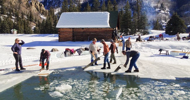 Crew Cuts Ice at Humphreys Ranch in Creede, Colorado