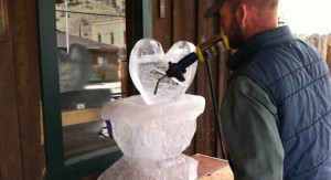 Creating the 4UR's ice sculpture