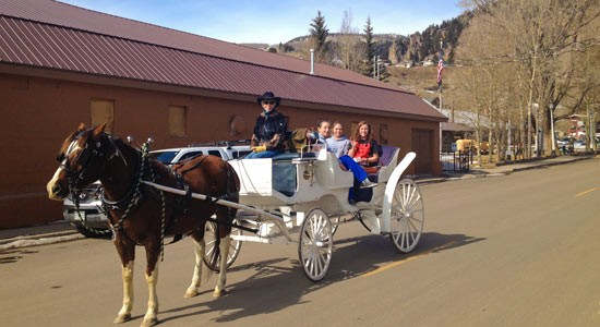 Horse-drawn carriage rides up and down Main Street, Creede