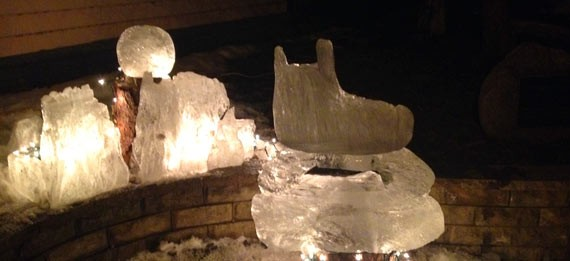 Ice sculptures illuminated for Cabin Fever Daze in Creede, CO