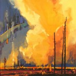 painting of papoose fire as it rages through river valley