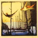 monotype of the burn area in winter by steve quiller