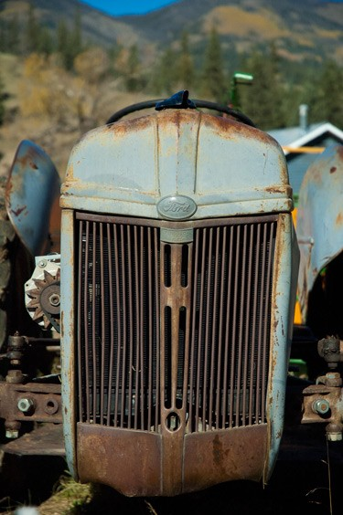 close up of grill on an old ford tractor in the colorado moountains