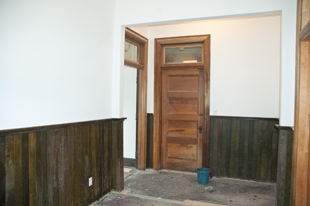 new remodel with drywall and green stained beadboard into artist's studio on colorado ranch