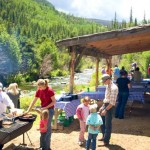 fish fry next to colorado mountain creek on fly fishing guest ranch
