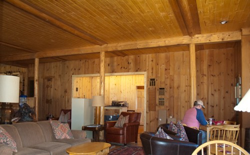 view of new reception area with lodge sitting room in foreground