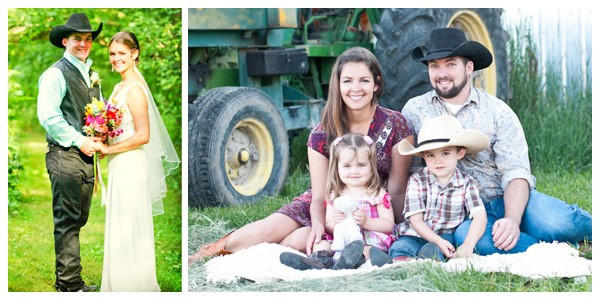 western bride and groom stand in a green wooded pathway and to the right sit with son and daughter in front of a John Deere tractor