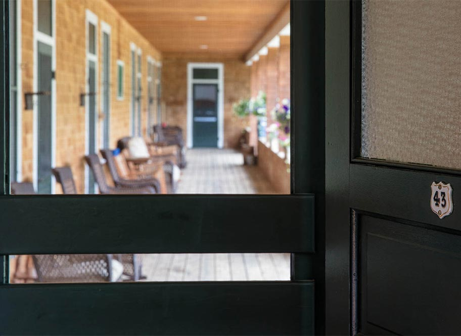 View of the porch from guest room door