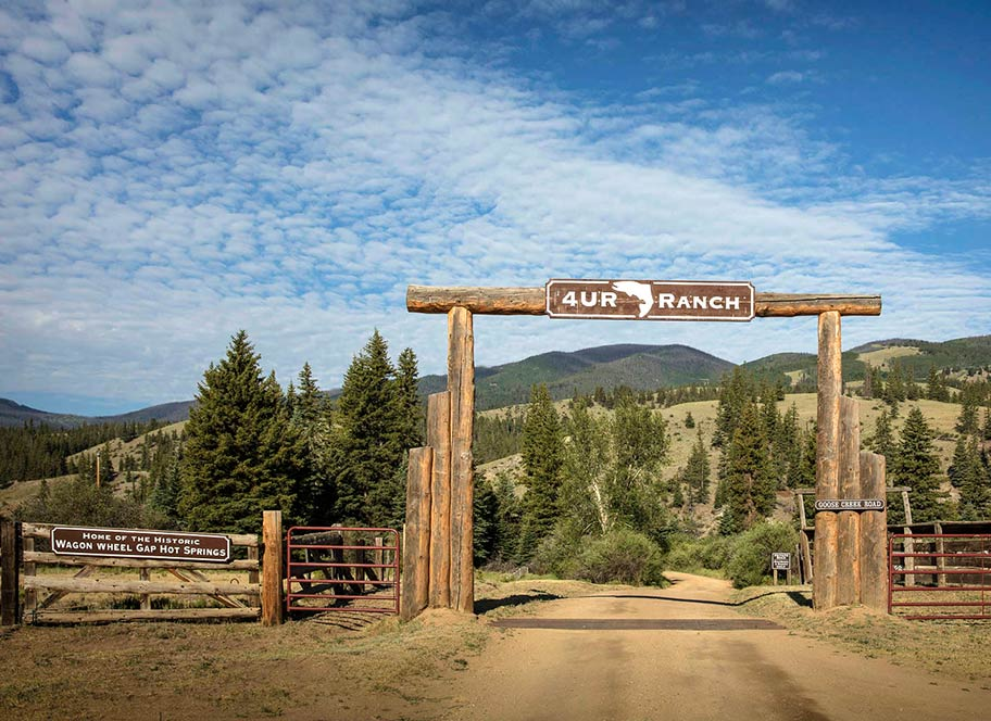 Entry gate to 4UR Ranch - a premier Creede, Colorado dude ranch