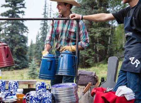 Ranch employees serving coffee