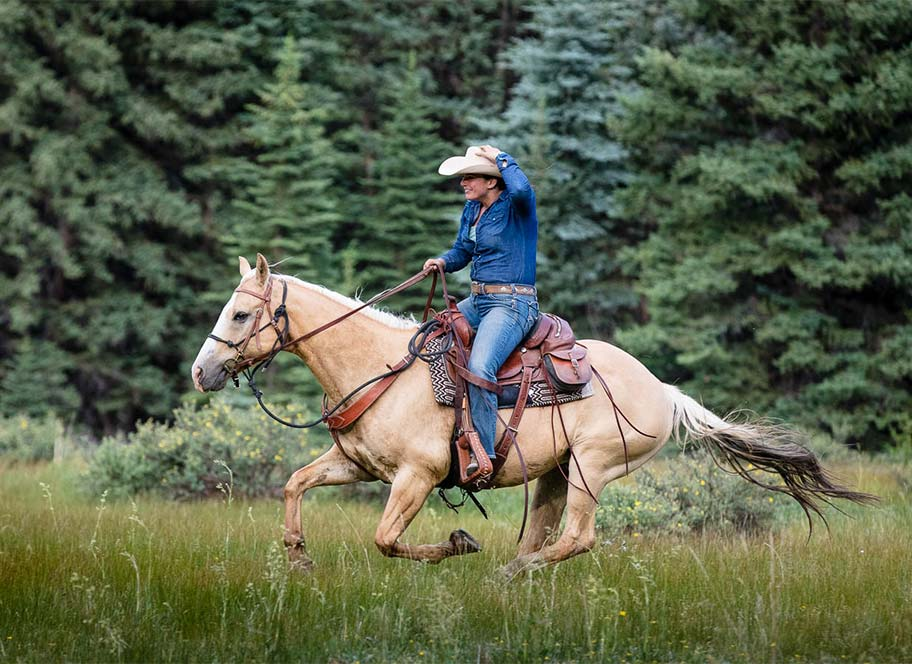 Fast rider on horseback