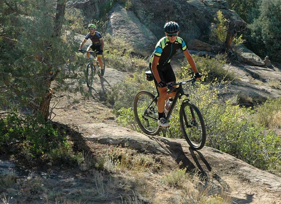 Mountain bikers on mountain trail