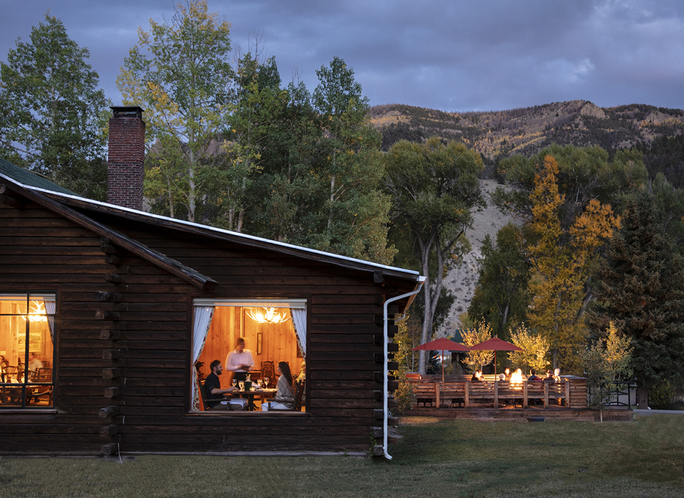 The lodge and firepit at 4UR Ranch in Creede CO